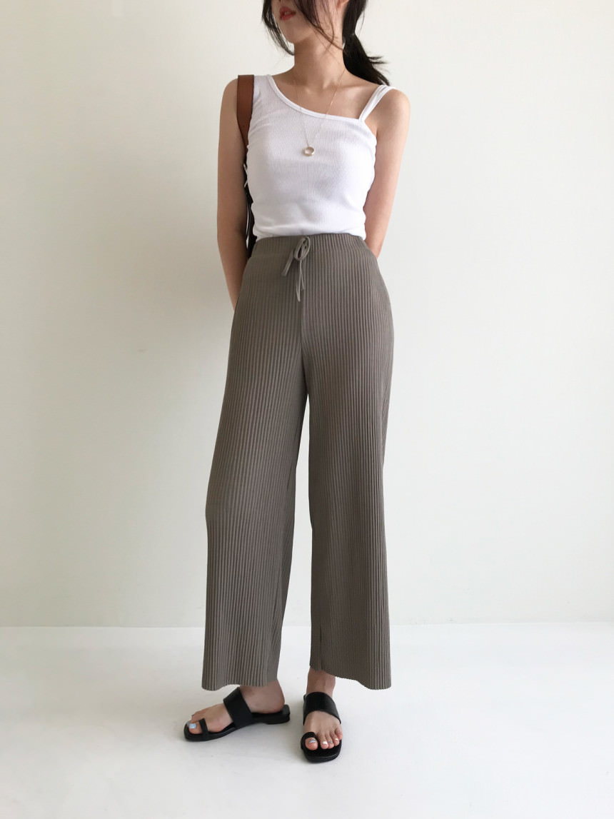 Socool Pleated Ribbed Wide Banding Pants