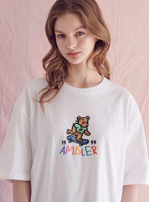 Ambler skateboard bear T-shirt (AS713_WHITE)