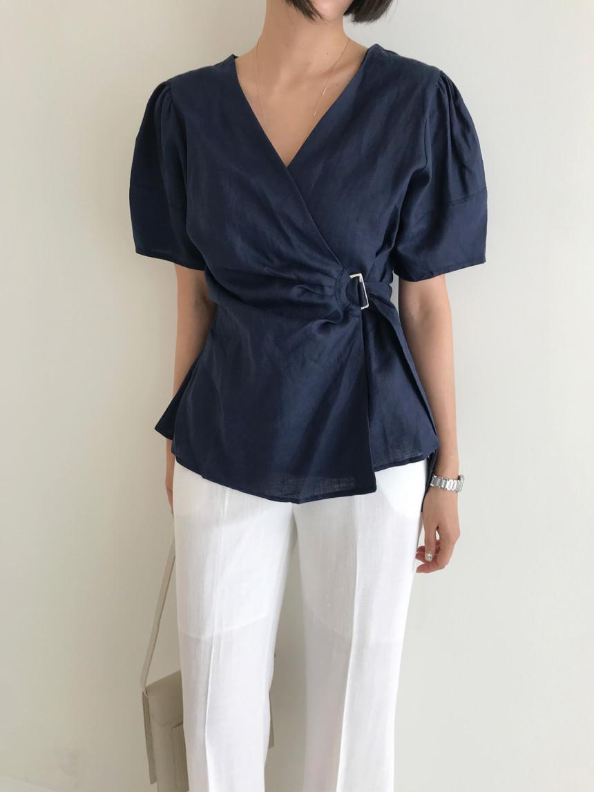 Renee D-Ling Wrap Peplum Jacket Linen Blouse
