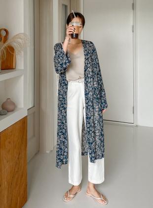 Flower Pattern Chiffon Robe Cardigan