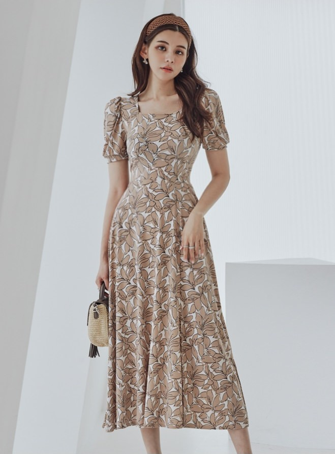 Barney Burn Pattern Long Dress