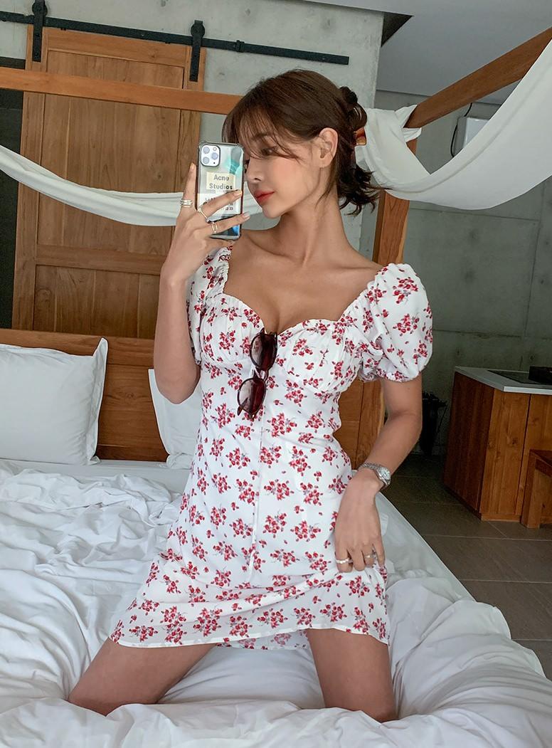 Raid Floral Shirring Dress