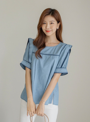 On The Line Color Denim Blouse