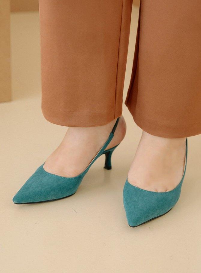 Renfled Suede Sling Bag Middle Heel