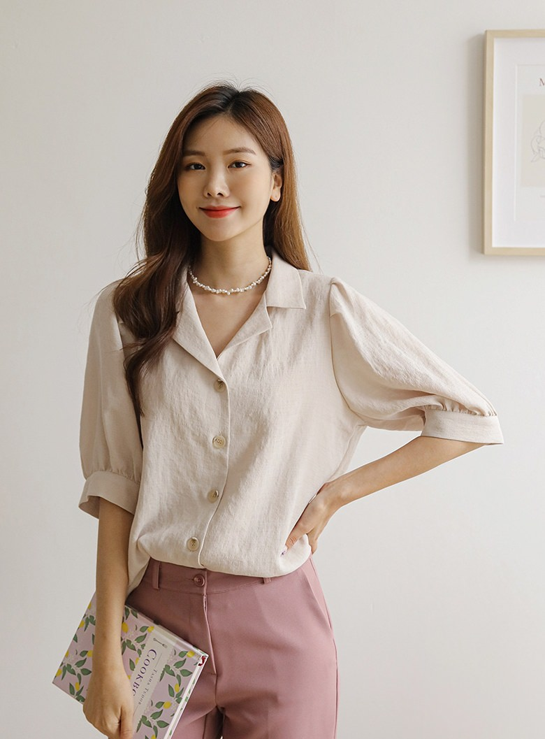 Mine Open Color Rayon Puff Blouse