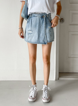 High Waist Vintage Wrap Denim Short Pants