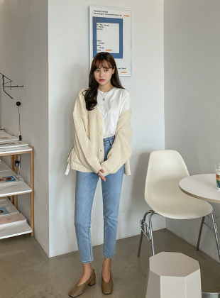 Daily V-Neck Hatchi Weaving Cardigan
