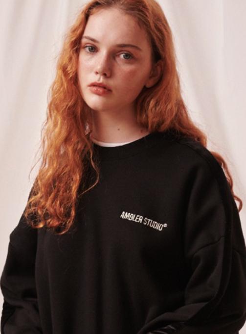Ambler Velvet Set-up Sweatshirt (AMM816_BLACK)