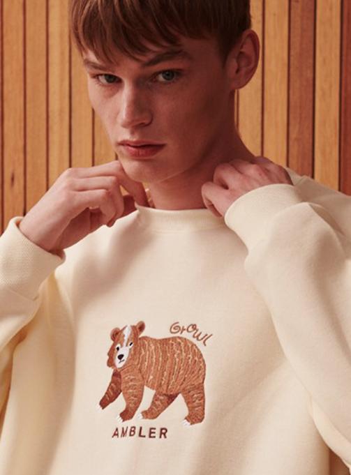 Ambler Coward Bear Sweatshirt (AMM812_IVORY)
