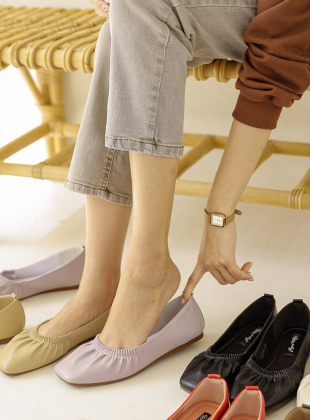 Synth Light Wrinkle Flat Shoes