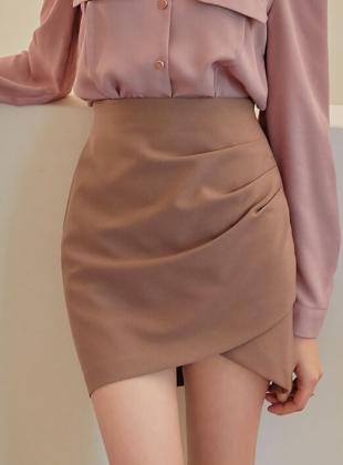 Linda Unbal Shirring Mini Skirt