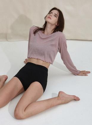New Wave Holic Crop Long Sleeve Tee  DEVI-T0047-Esh pink