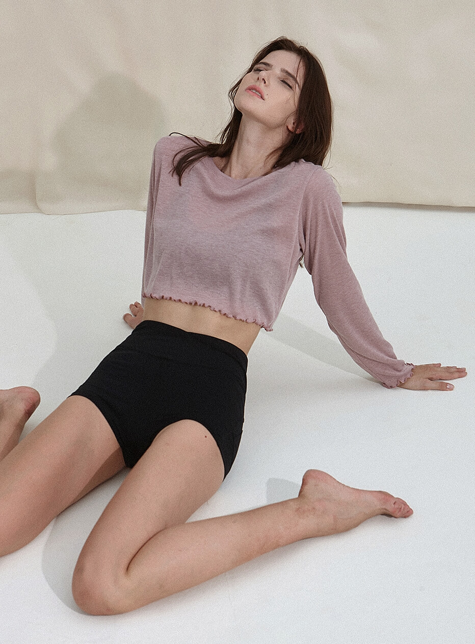 New Wave Holic Crop Long Sleeve Tee  DEVI-T0047-Esh pink