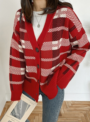 Check Loose Fit Knit Cardigan