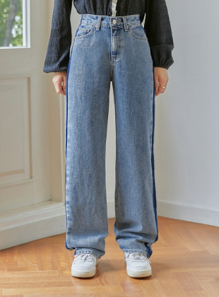 Side Point Washed Denim Pants