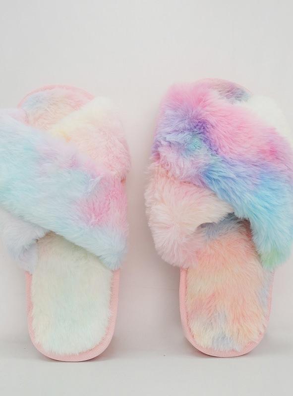 Rainbow Print Hair Slippers