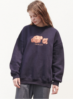 Ambler Oops Bear Sweatshirt (AMM718_NAVY)