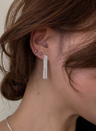 [92.5 Silver] BlingBling 5 Lines Drop Earring