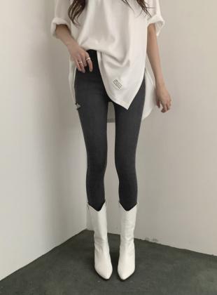 Gray Slit Skinny Jean